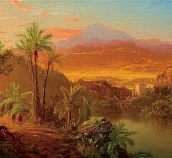 LOUIS REMY MIGNOT, American (1831-1870), Travelers In A Tropical Landscape